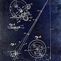 Fishing Reel Patent 1939 Blue by Jon Neidert