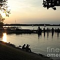 Fishing The Tred Avon At Twilight In Oxford Maryland by William Kuta