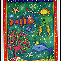 Fishy Christmas, 1997 Wc And Pastel On Paper by Cathy Baxter
