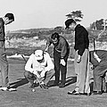 Five Golfers Looking At A Ball by Underwood Archives