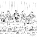 Five Men Sit On A Stage In Front Of An Audience by David Sipress