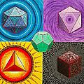 Five Platonic Solids - Fire by Maya B