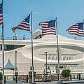 Five Us Flags Flying Proudly In Front Of The Megayacht Seafair - Miami - Florida - Panoramic by Ian Monk