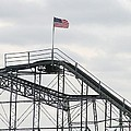 Flag Mounted On Seaside Heights Roller Coaster by Melinda Saminski