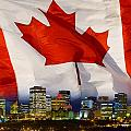 Flag Of Canada Over Albertas Capital by Corey Hochachka