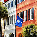 Flag Of Charleston With Palmetto And Crescent Moon by George Oze