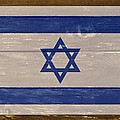 Israel National Flag On Wood by Movie Poster Prints