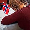 Flag Of Norway In Girls' Braided Hair Art Prints by Valerie Garner