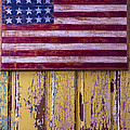 Flag On Old Yellow Door by Garry Gay