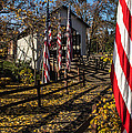Flags And Covered Bridge by Mick Anderson