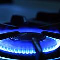 Flaming Blue Gas Stove Burner by John Stephens