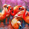 Flaming Flamingos by Ted Azriel