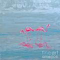 Flamingo Couple In Shallow Waters by Paola Correa de Albury