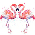 Flamingo Love Watercolor by Olga Shvartsur