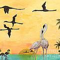 Flamingo Sunset Silhouette Cathy Peek Tropical Birds  by Cathy Peek