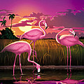 Flamingoes Flamingos Tropical Sunset Landscape Florida Everglades Large Hot Pink Purple Print by Walt Curlee