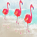 Flamingos On The Beach by Jane Schnetlage