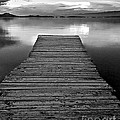 Flathead Lake Dock Sunset - Black And White by Brian Stamm