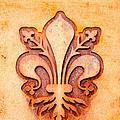 Fleur De Lis On A Rusty Metal Plate by Bernd Goettlicher