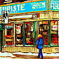 Fleuriste Notre Dame Flower Shop Paintings Carole Spandau Winter Scenes by Carole Spandau