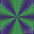 Flight Of Fancy Fractal In Green And Purple by Rose Santuci-Sofranko