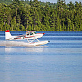 Float Plane Landing On The Lake by Barbara West