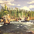 Floating Boulders On The Yellowstone River  1950s by Art By Tolpo Collection