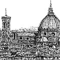 Florence Duomo In Ink  by Adendorff Design