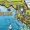 Florida Cartoon Map by Kevin Middleton