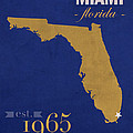 Florida International University Panthers Miami College Town State Map Poster Series No 038 by Design Turnpike
