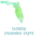 Florida - Sunshine State - Map - State Phrase - Geology by Andee Design