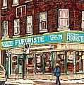 Flower Shop Rue Notre Dame Street Coin Vert Fleuriste Boutique Montreal Winter Stroll Scene by Carole Spandau