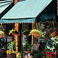 Flower Shop With Green Awnings by Susan Savad
