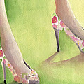 Flowered Shoes Fashion Illustration Art Print by Beverly Brown Prints