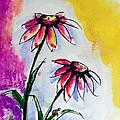 Flowers And Ladybug  by Hae Kim