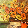 Flowers And Red Pitcher by Virginia Ann Hemingson