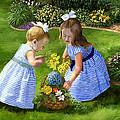 Flowers For Mama With Girls Garden Basket Bouquet by Alice Leggett