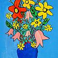 Flowers In A Blue Vase by Bishopston Fine Art