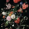 Flowers In A Glass Vase, Circa 1660 by Jan Davidsz de Heem