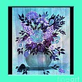 Flowers In A Vase With Blue Border by Barbara Griffin
