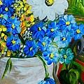 Flowers In A White Vase by Eloise Schneider Mote