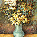 Flowers In Blue Vase - Still Life Oil by Peter Potter