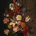 Flowers In Glass Vase With Shells C1625 by Sheila Savage