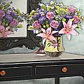 Flowers Table And Mirror In The Foyer Still Life by Elaine Plesser