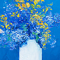 Flowers With Blue Background by Jan Matson