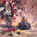 Flowers With Lantern Christmas Card by Nancy Griswold
