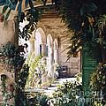 Flowery Majorquin  Patio In Valdemosa by Heiko Koehrer-Wagner