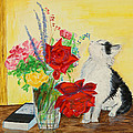 Fluff Smells The Lavender- Painting by Veronica Rickard