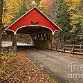 Flume Gorge Covered Bridge Fall Colors by Adam Jewell