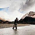 Fly Fishing At The Base Of Fitz Roy by Sam Wells